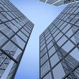 3d illlustrarion of modern blue building poster