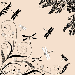 vectorial illustration of floral ornament with dragonflies