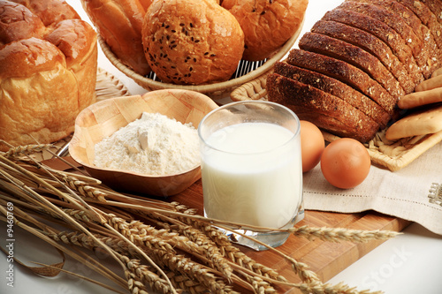 Baking ingredients, milk, and pastry