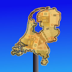 warning sign in shape of Netherlands with euros