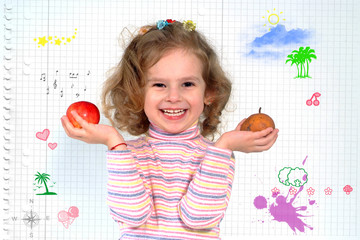 Playful little schoolgirl