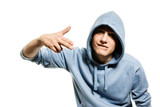 Fototapety Young handsome man in a hood isolated on white background