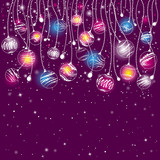 Fototapety purple card with christmas balls