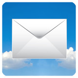 mail icon with clouds for smart phone or personal computer poster