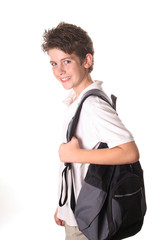 school boy with book bag