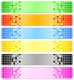Six abstract banners with pixels poster