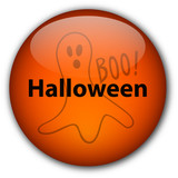 Halloween Button with Scary Ghost poster