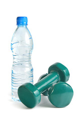 green dumbbells and a bottle of water