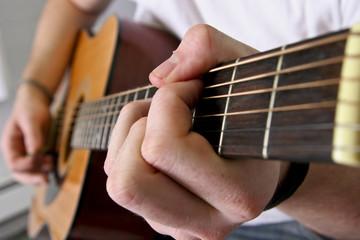 Close up of guitar neck