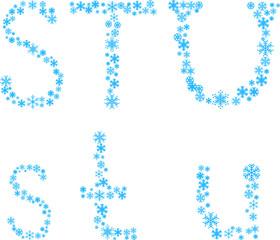 Three snowflake letters. Vector illustration.