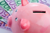 Pink piggy-bank over many notes of euros poster