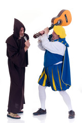 Halloween funny monk and angry prince on white background