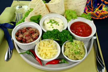 Mexican vegetarian platter with tortillas and guacamole