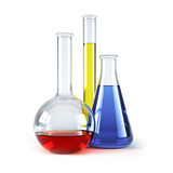 chemical flasks with reagents isolated 3d rendering poster