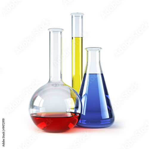 chemical flasks with reagents isolated 3d rendering