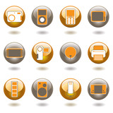 Collection of twelve technology inspired buttons with shadow poster