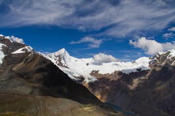 mountain view in the cordillera blanca, peru