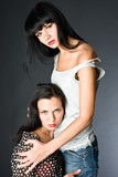 Two girls hot girl-friends poster