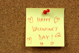 Office cork bulletin board. Happy Valentines Day - best wishes. poster