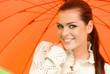Sexy woman with  orange umbrella