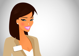 Business woman with blue eyes in workplace