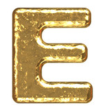 Golden font. Letter E. poster