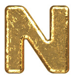 Golden font. Letter N. poster