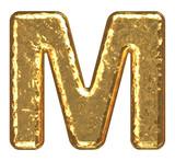 Golden font. Letter M. poster