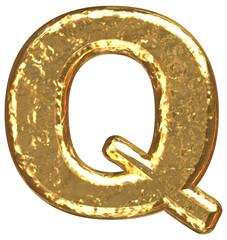 Golden font. Letter Q.