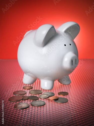 Piggy Bank Financial Investment Change Savings w/ Coins Money