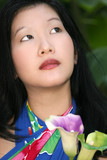 Beautiful Asian Female in Tropical Sarong poster