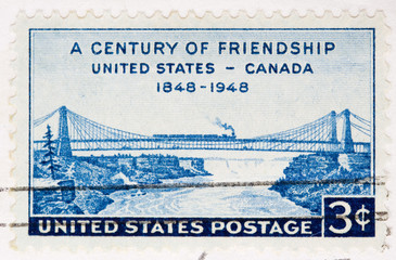 This is a Vintage 1948  Stamp FriendShip United States Canada