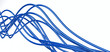 metallic fibre-optical blue cables on a white background