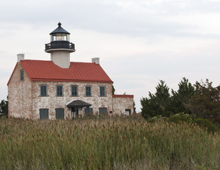 An old brick lighthouse on the Jersey shore