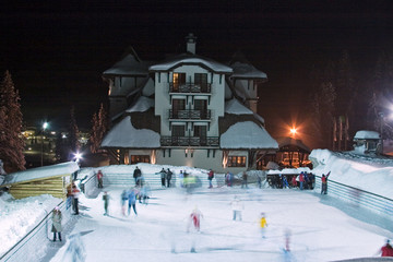 "Nightshot of snow-covered ski-resort hotel ""Termag"", Jahorina"