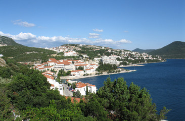 Neum city landscape on bright summer day