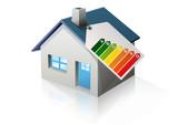 Fototapety Maison et étiquette énergie (reflet)