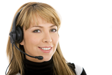 beautiful business customer service woman - smiling isolated