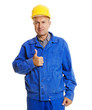 handsome senior worker showing thumbs up