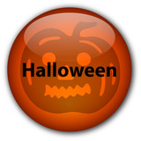 Halloween Button (with Ugly Pumpkin) poster