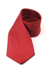 Red silk business tie rolled up