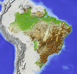 Brazil. Shaded relief map.