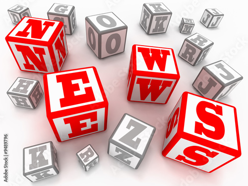 "Blocks with letters form a word ""NEWS"""