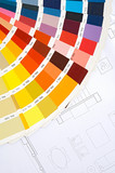 By choosing the colors of the new house on plans poster