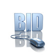 3D rendering of the word BID connected
