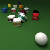 Cubic billiards balls on a green felt table poster