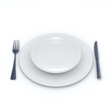 3D rendering of a place setting with two simple white dishes poster