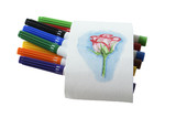 felt-tip pens with painted rose isolated on white background poster