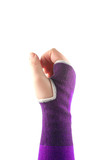 sprained wrist wrapped in a elastic cloth for support poster