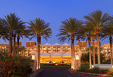 luxury tropical hotel resort front enterance at twilight poster